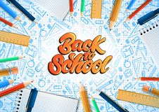 Notebooks with deferent pencils in realistic style with lettering text back to school. School doodle illustrations. Vector vector illustration
