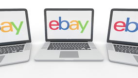 Notebooks with eBay Inc. logo on the screen. Computer technology conceptual editorial 3D rendering. Notebooks with eBay Inc. logo on the screen. Computer royalty free illustration
