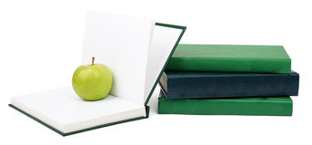 Notebooks with green apple Royalty Free Stock Image