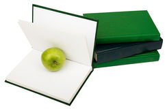 Notebooks with green apple Stock Image