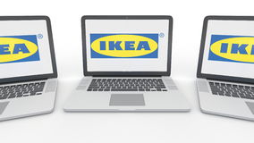 Notebooks with Ikea logo on the screen. Computer technology conceptual editorial 3D rendering. Notebooks with Ikea logo on the screen. Computer technology stock illustration