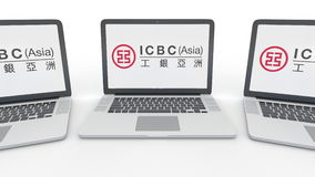 Notebooks with Industrial and Commercial Bank of China ICBC logo on the screen. Computer technology conceptual editorial Royalty Free Stock Photography