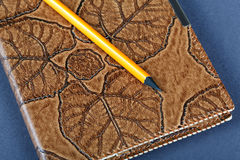 Notebooks in leather covers and a pencil Royalty Free Stock Photography