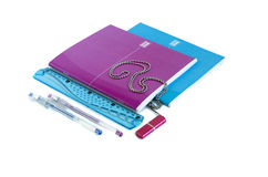 Notebooks, pen, ruler, USB flash drive. School supplies - notebooks, pen, ruler, USB flash drive on a long chain Royalty Free Stock Photo