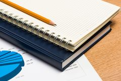Notebooks and pencil on the desk Royalty Free Stock Image