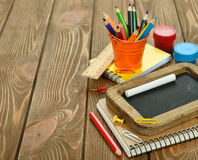 Notebooks and pencils Royalty Free Stock Photos