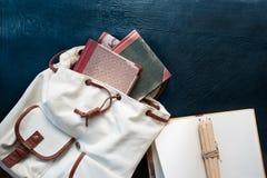 Notebooks pencils and school bag. On a desktop stock photos