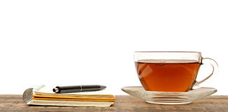 Notebooks, Pens And Glass Tea Royalty Free Stock Photography