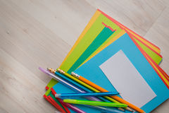 Notebooks and pens. With pencils stock photo