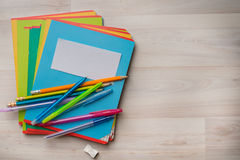 Notebooks and pens. With pencils stock image