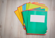 Notebooks and pens. With pencils royalty free stock photo