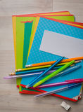 Notebooks and pens. With pencils stock images