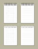 Notebooks. Set of 4 squared and lined notebooks Royalty Free Stock Photography