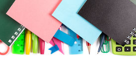 Notebooks and stickers on stationery supplies Stock Image