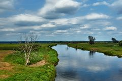Notec River and rural landscape in summer stock photos