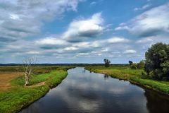 Notec River and rural landscape in summer stock images