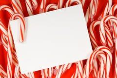 Notecard del bastón de caramelo Imagen de archivo libre de regalías