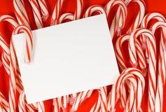 Notecard del bastón de caramelo Imagenes de archivo