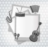Notecard with music instrument in black and white Royalty Free Stock Photo