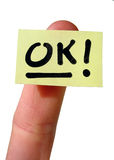 notecard ok yellow Стоковая Фотография RF