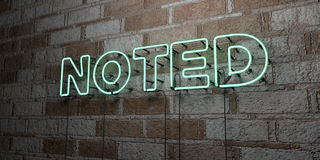 NOTED - Glowing Neon Sign on stonework wall - 3D rendered royalty free stock illustration Royalty Free Stock Photography