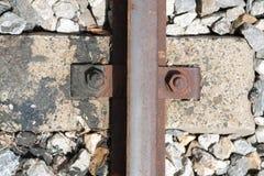 Noten - en - bouten van een spoorweg Stock Foto's