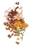 Noten en zaden die op wit worden geïsoleerde Stock Foto