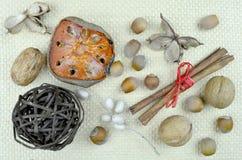 Noten, pijpjes kaneel en droge oranje plak Royalty-vrije Stock Afbeelding
