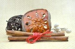 Noten, pijpjes kaneel en droge oranje plak Royalty-vrije Stock Foto