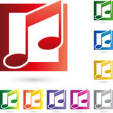 Notenen-, Musik-und Musik-Anmerkungs-Logo Stockfotografie