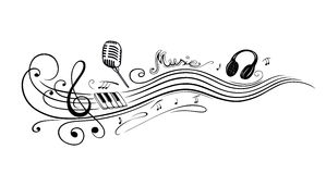 Notenschlüssel, Musikanmerkungen lizenzfreie abbildung