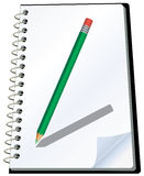 Notepad. Vector illustration of notepad with pencil Stock Photo