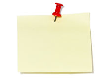 Notepad. Yellow notepad with red pin Stock Image