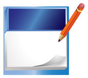 Notepad. A note taking pad with a pencil in a plain white background Stock Photo