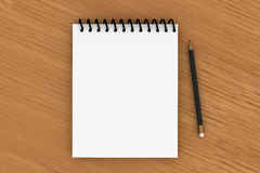 Notepad And Black Pencil Royalty Free Stock Images
