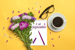 Notepad , aster flowers, colored felt-tip pens, cup with coffee on yellow background. Concept autumn, summer, spring. Place for text.Flat lay.Top view.Copy royalty free stock photography