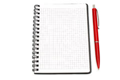 Notepad with ball pen Stock Photos