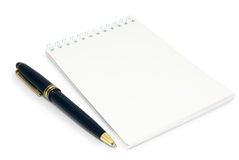 Notepad and ball point Royalty Free Stock Image