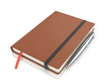 Notepad with a ballpoint pen Stock Images