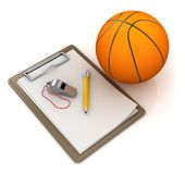 Notepad with Basketball. This is a 3d rendered computer generated image. Isolated on white Stock Image