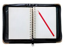 Notepad black and red pencil Royalty Free Stock Photography