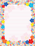 Notepad blank with floral multicolour frame Royalty Free Stock Photos