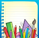 Notepad blank page and stationery 2 Stock Photo