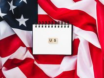 Notepad with blank page, US Flag royalty free stock photography
