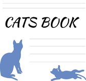 Notepad with a blue cats. Sheet of notebook, blank for records Stock Image