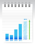 Notepad and blue graph illustration design Royalty Free Stock Photo