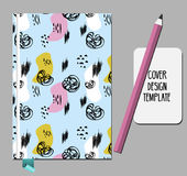 Notepad, book cover design template with abstract hand drawn 80s 90s style pattern.  Stock Images