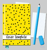 Notepad, book cover design template with abstract hand drawn style black dots on yellow background. And torn paper effect Stock Image