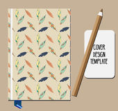 Notepad, book cover design template with feathers pattern Stock Photos