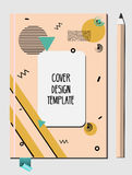 Notepad, Book Cover Design Template With Abstract 80s 90s Style Geometric Memphis Style Pattern Royalty Free Stock Photo